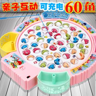 宝宝小猫钓鱼玩具套装1-2儿童4-3-6周岁小孩女孩男孩电动益智玩具