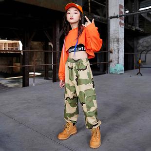 兒童爵士舞服裝女童露臍上衣少兒jazz表演出服韓版潮嘻哈街舞套裝