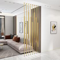铁艺隔断屏风简约现代轻奢卧室客厅小户型玄关屏风立柱墙竖条装饰