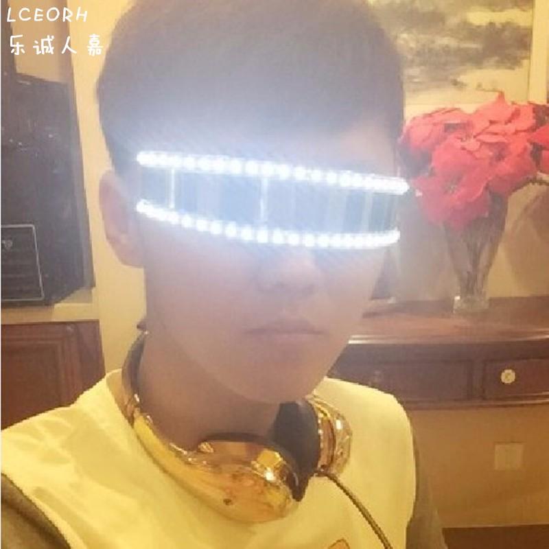 定制创意LED发光眼镜个性荧光激光手套演出道具团队快手抖音同款