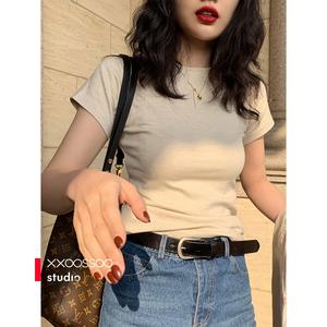 xxoossoo米灰杂色精致包身T恤春装2021款圆领修身显瘦穿棉T女装