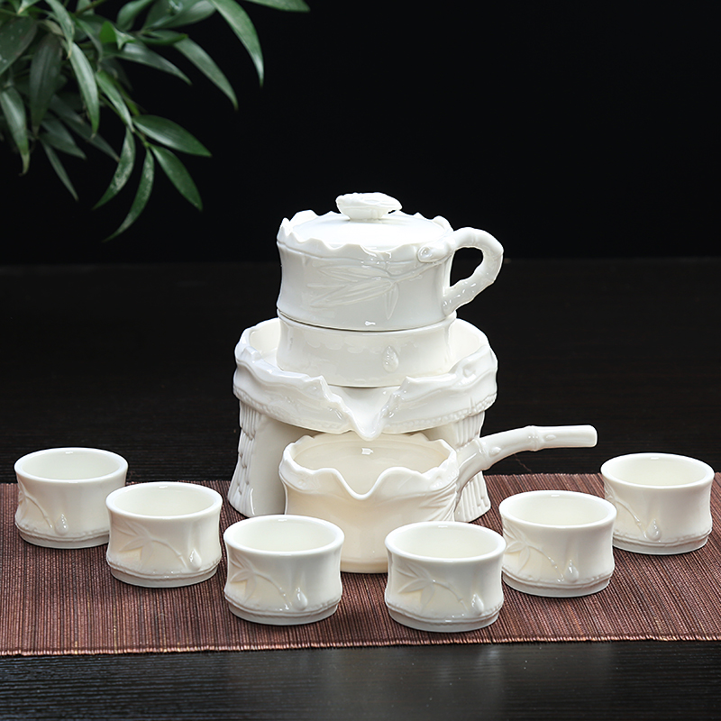 Semi automatic kungfu tea set with stone mill