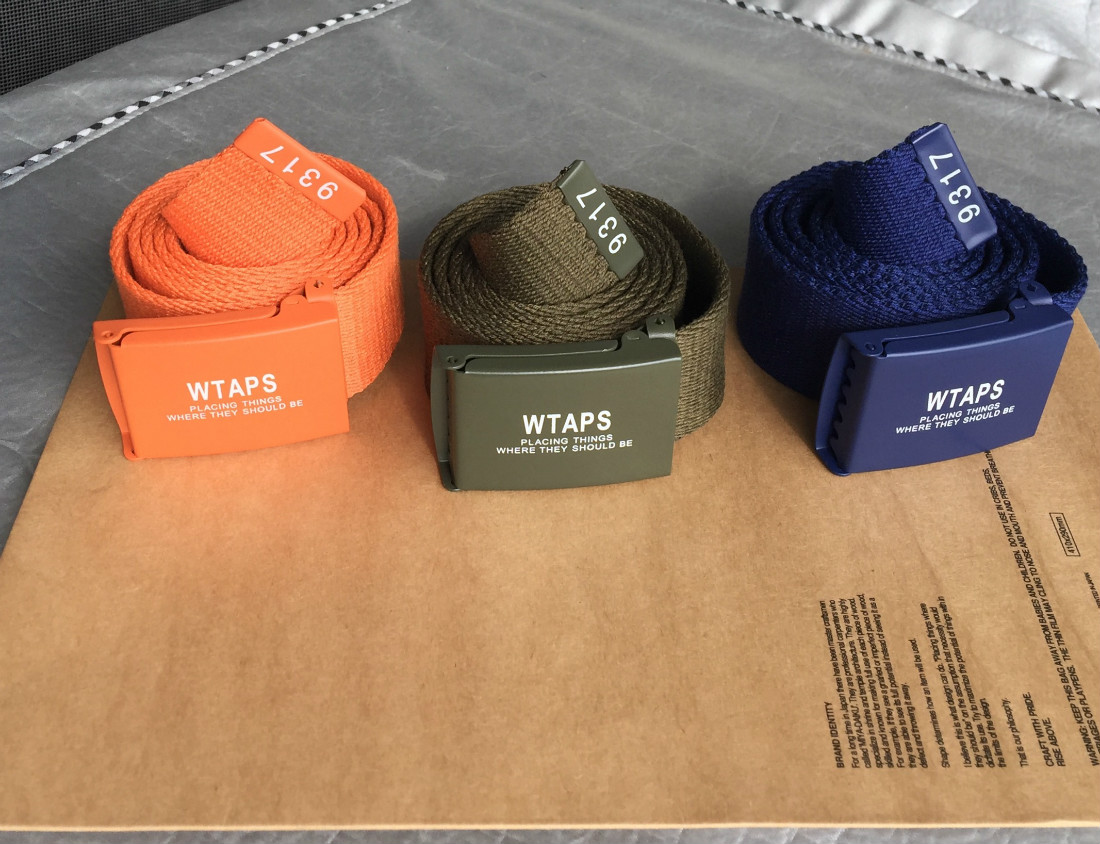Yu wenle trend NBHD wtaps dcdt 16ss Military Canvas smooth buckle belt tricolor