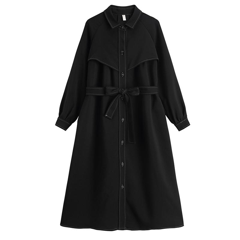 秋装2020年新款法式复古气质显瘦收腰黑色郝本中长款衬衫连衣裙女