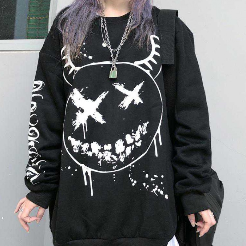 Autumn and winter ins dark mourning funny pattern printed hoodie with velvet Sweater Hoodie for men and women