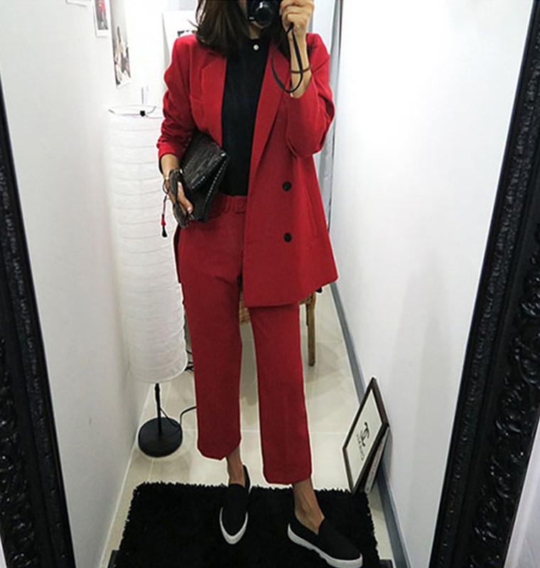 西服套装女韩国2018春秋季新款时尚宽松名媛小香风红色西装两件套