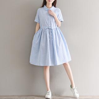 2020夏季女装学院风文艺大码宽松a字中长裙小清新短袖棉麻连衣裙