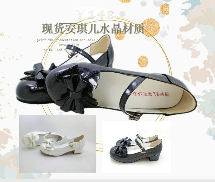 2020 new crystal light, low heel, low top, shallow bow, Lolita womens single shoe, one word buckle