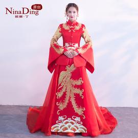 NinaDing秀禾服新娘2021新款中式敬酒服红色拖尾结婚嫁衣婚纱礼服图片