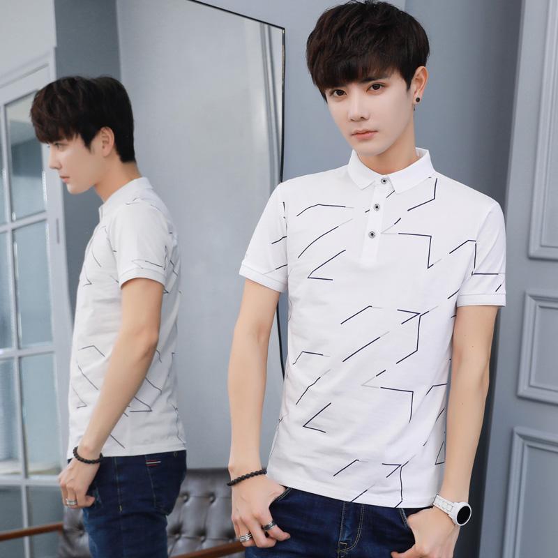 W實拍夏季新款男士短袖t恤韓版修身翻領polo衫男體恤潮流半袖8006