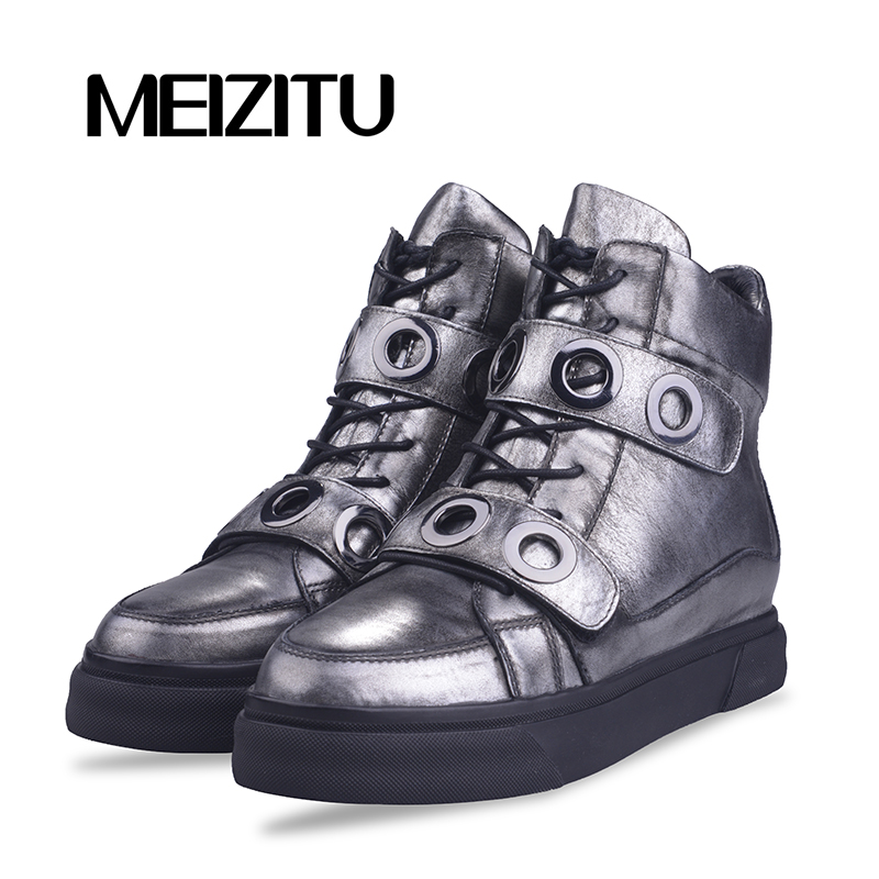 Metstu spring new casual shoes womens flat sports shoes womens shoes thick soled high top round head metal buckle Velcro