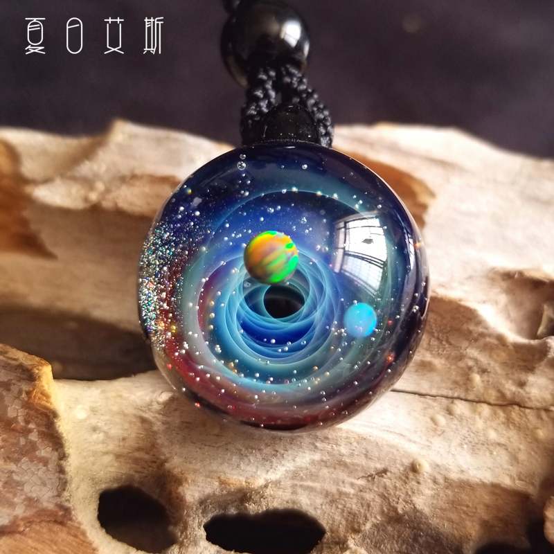 Summer ace Valentines Day gift for girlfriend handmade universe Glass Pendant Necklace Pendant sweater chain