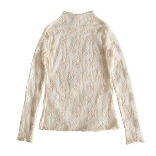 蕾丝女网纱长袖半高领木耳边打底衫