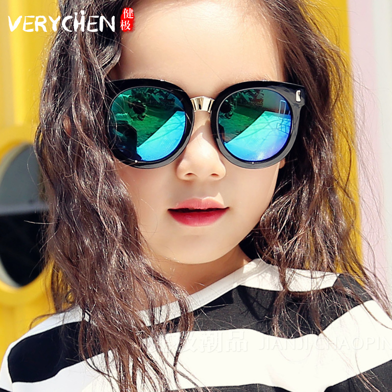 新款儿童板材框太阳镜时尚墨镜男童女童炫彩反光墨镜宝宝太阳镜