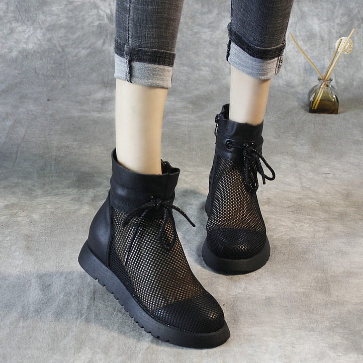 Womens summer flat sole real belt hole mesh short boots breathable tidal sandals womens Korean version hollow hole mesh cool boots