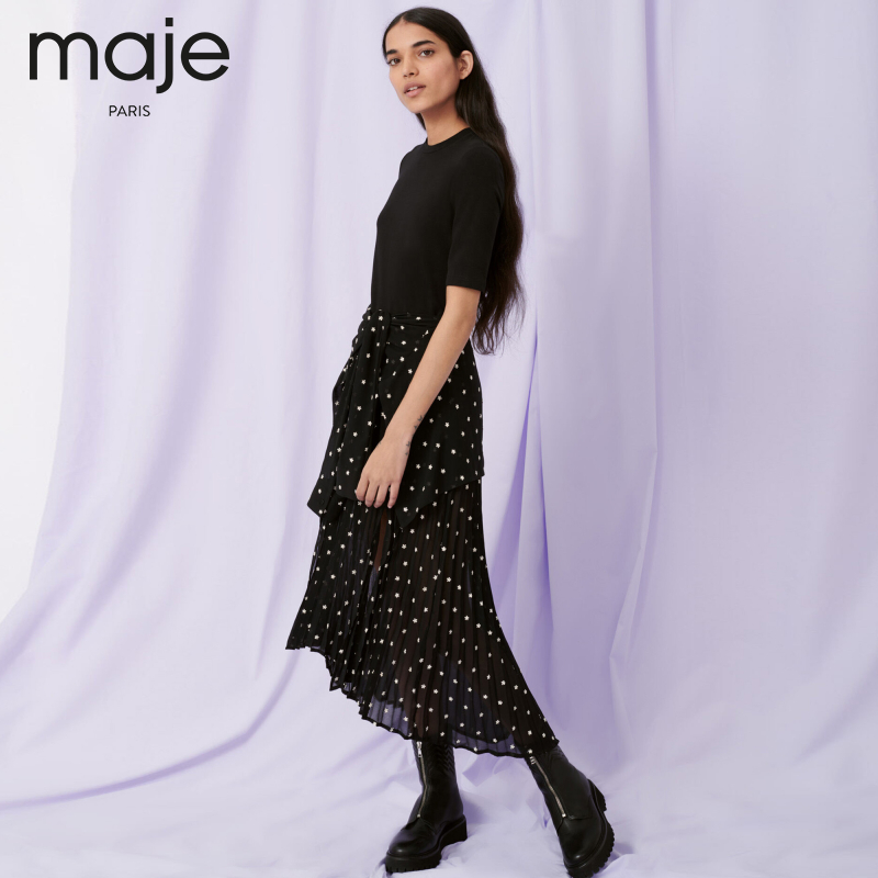 maje2020 autumn and winter new dress with polka dot printing stitching ruffled thin dress MFPRO01533