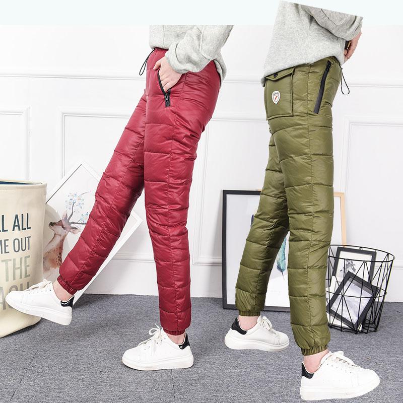 Новый зимний осенний на открытом воздухе движение брюки вниз женщина верхняя одежда талия обтягивающий стройнящий двухсторонняя теплые хлопок брюки большой двор
