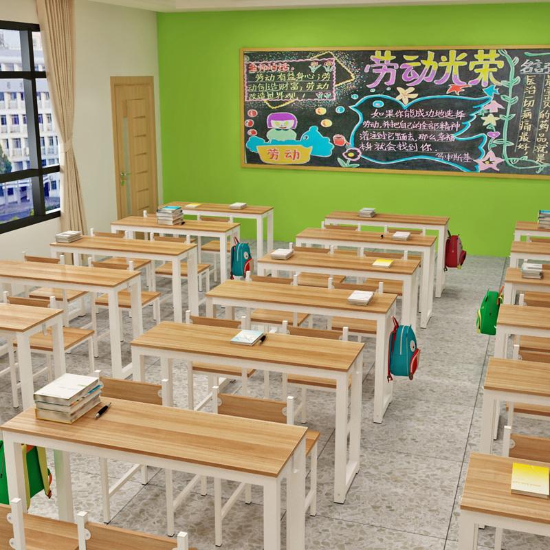 中小学生课桌椅厂家直销学校辅导班单双人培训桌椅组合书桌活动桌