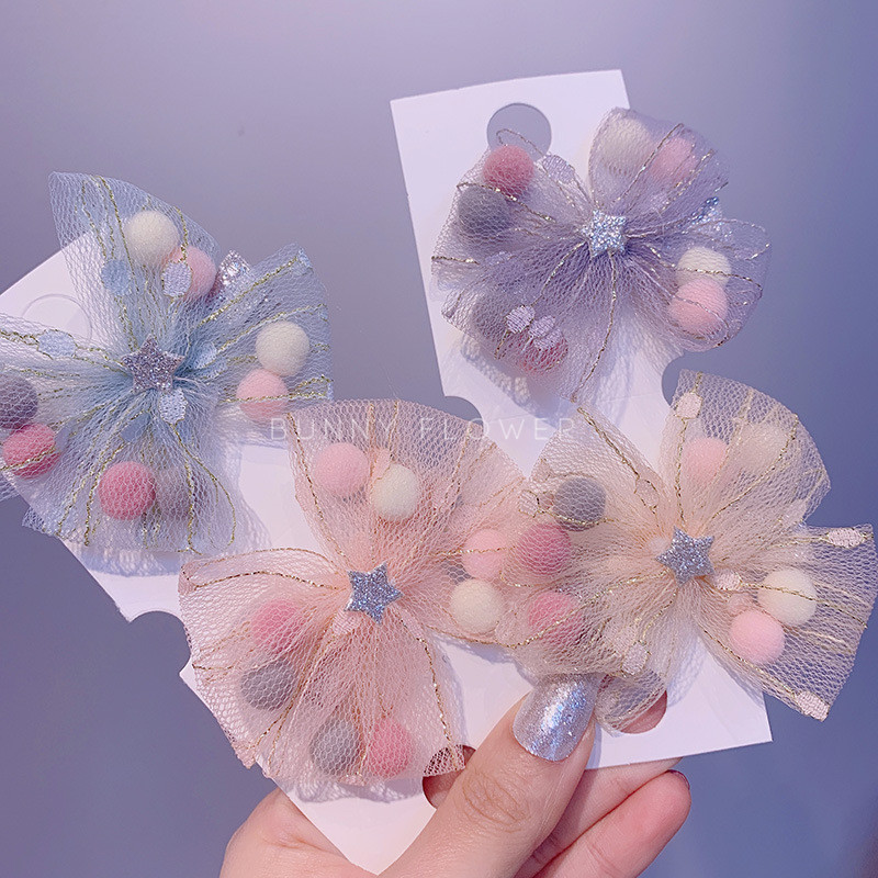 Hlt-021 princess style lace mesh bow color ball childrens duckbill clip hairpin
