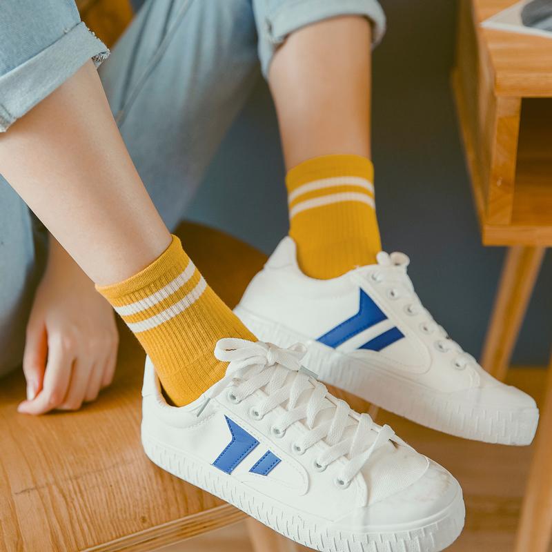 三双装中筒袜子女纯棉韩版学院风二条杠个性百搭运动防臭长袜