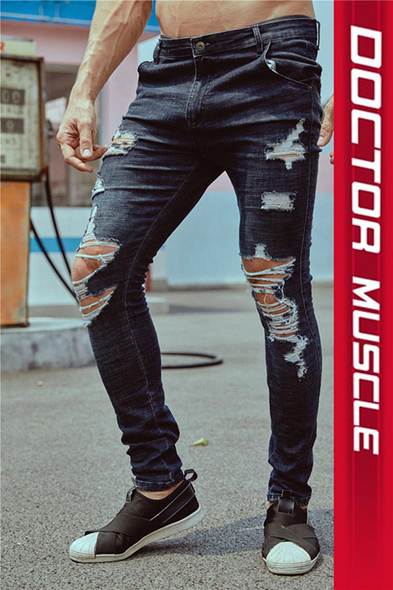 Мышцы Dr. Summer Fitness джинсы мужской для отдыха Спортивные штаны для брюк эластичные тонкий стиль 乞丐 破 洞 洞