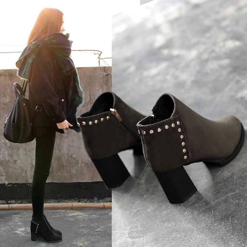 2018新款秋冬季马丁靴女英伦风女鞋粗跟高跟鞋加绒短靴尖头女靴子