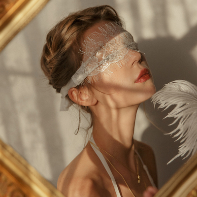 Don't talk and kiss me, see-through lace eye mask does not block the light, retro dreamy photo style accessories