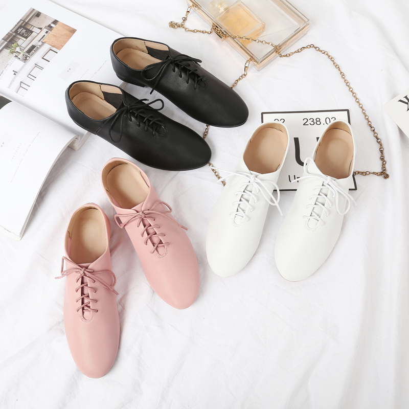 Womens shoes 2020 spring and Autumn New Oxford shoes lace up soft younger sister small leather shoes womens leather flat sole casual small white shoes single shoes