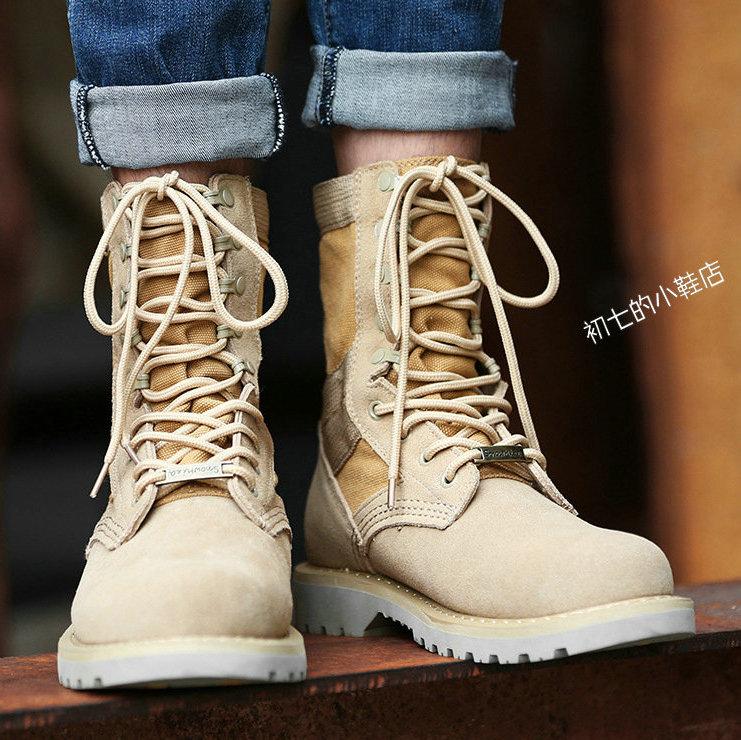工装靴男鞋子牛皮特种兵作战靴磨砂高帮马丁靴真皮沙漠靴登山短靴