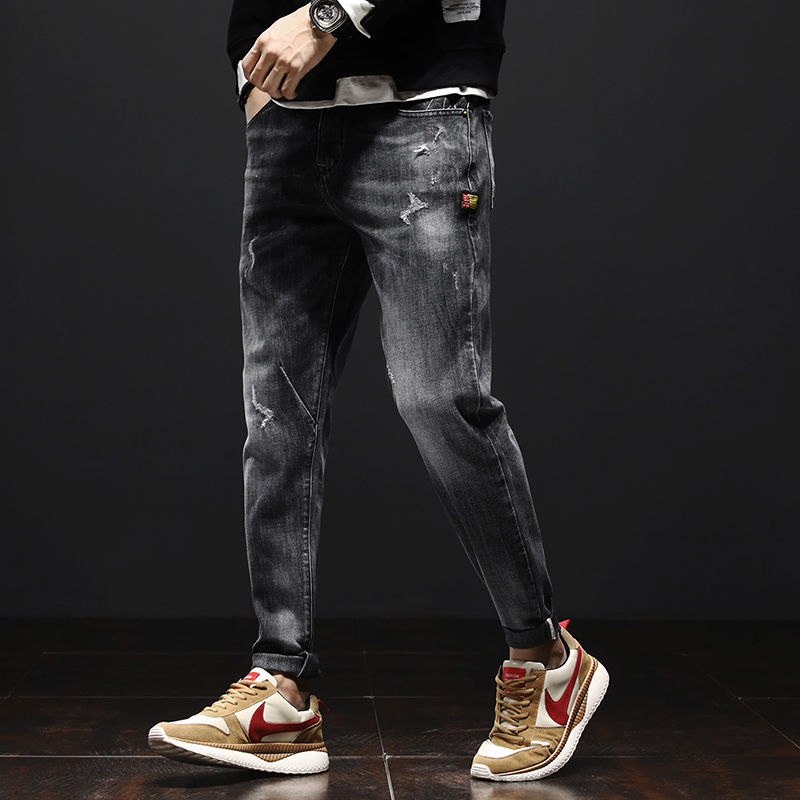 Autumn and winter mens jeans long pants 2020 new micro width tapered small straight tube slim Korean version trend