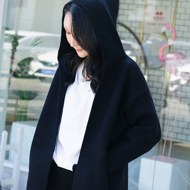 Hooded knitted coat 20 autumn winter new double bag solid color retro casual lazy loose Korean sweater cardigan