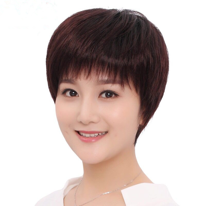 Middle aged and elderly short straight hair elderly short hair set womens wig short hair real hair fashion mothers hair set real hair