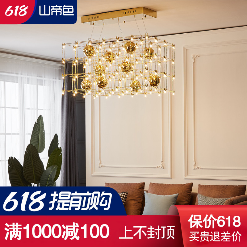 Star cube chandelier living room hotel lobby club model room sales department large decorated square Villa