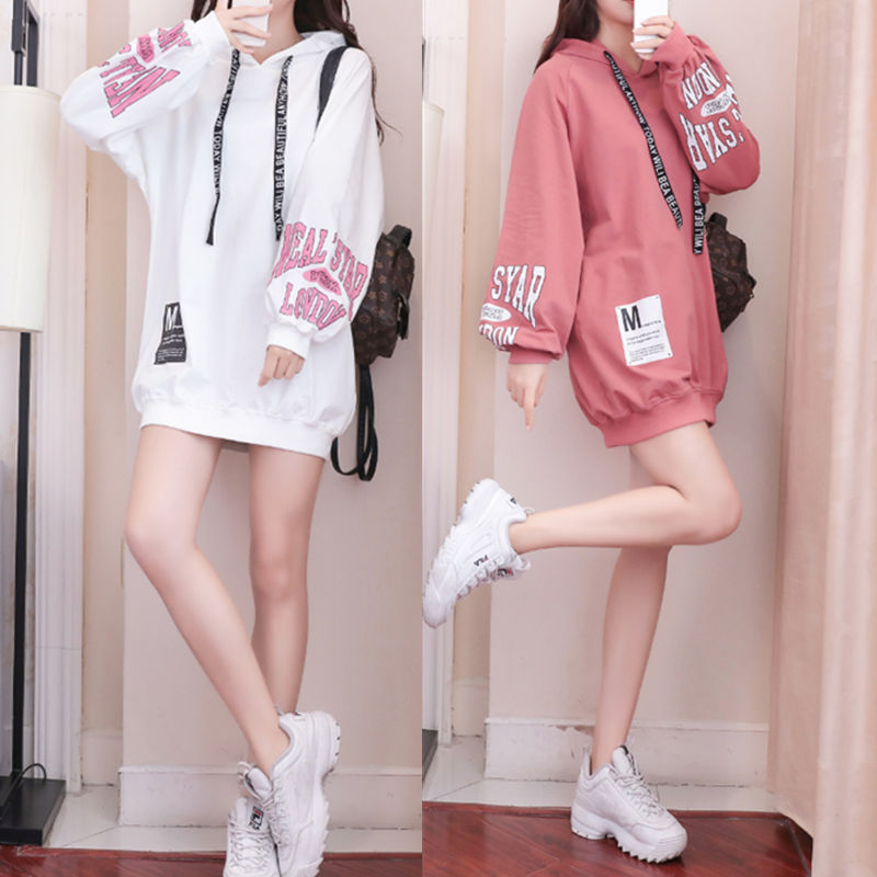 Sweater womens Hoodie fall / winter 2019 Korean long sleeve student loose and lazy mid long ins super fire jacket