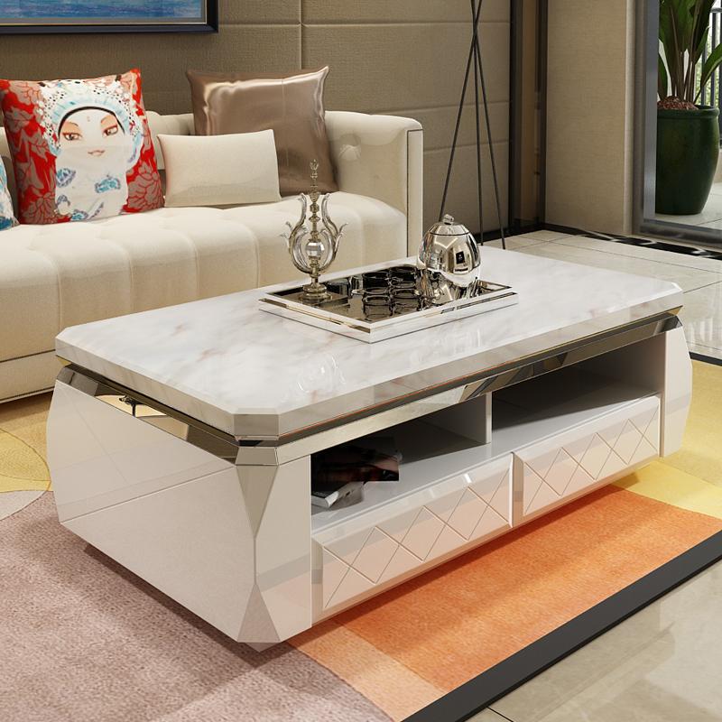 北欧の風の大理石の茶の何のテレビの箱の組合せは簡単で現代の客間の小さい戸形の実木の漆の家具のスーツを焼きます