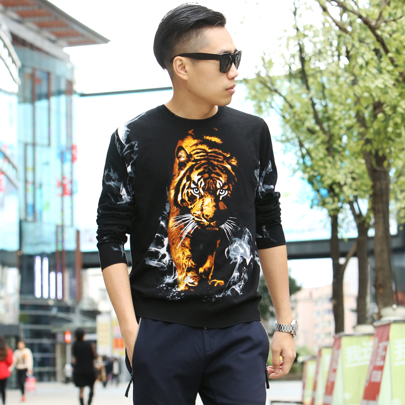 2018 mens spring and autumn sweaters and knitwear printed leisure trend personalized round neck tiger dragon pattern Chinese style