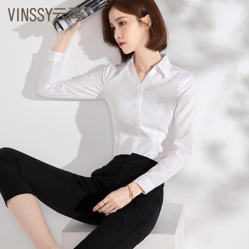 v领长袖春季职业免烫气质黑白衬衫