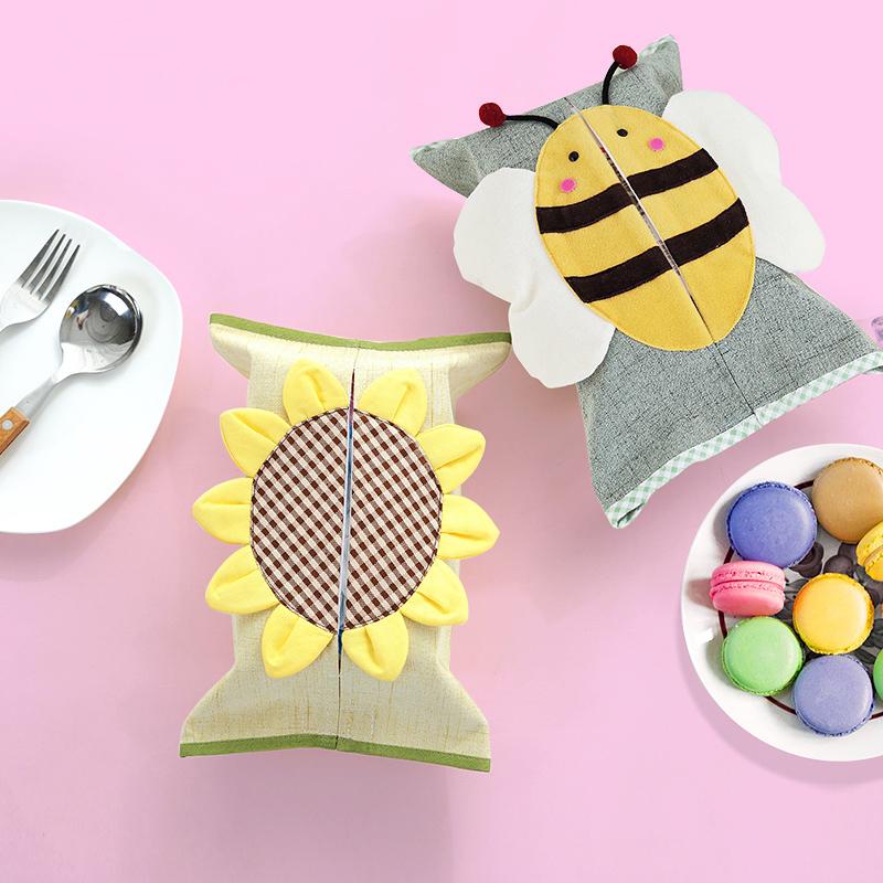 田园布艺抽纸袋卡通创意客厅纸巾盒棉麻餐厅纸抽套可爱车用纸巾包