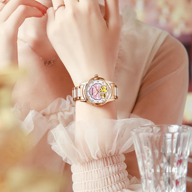 女士镂空手表爱心全自动机械表陶瓷钢带防水浪漫大盘腕表优雅精致