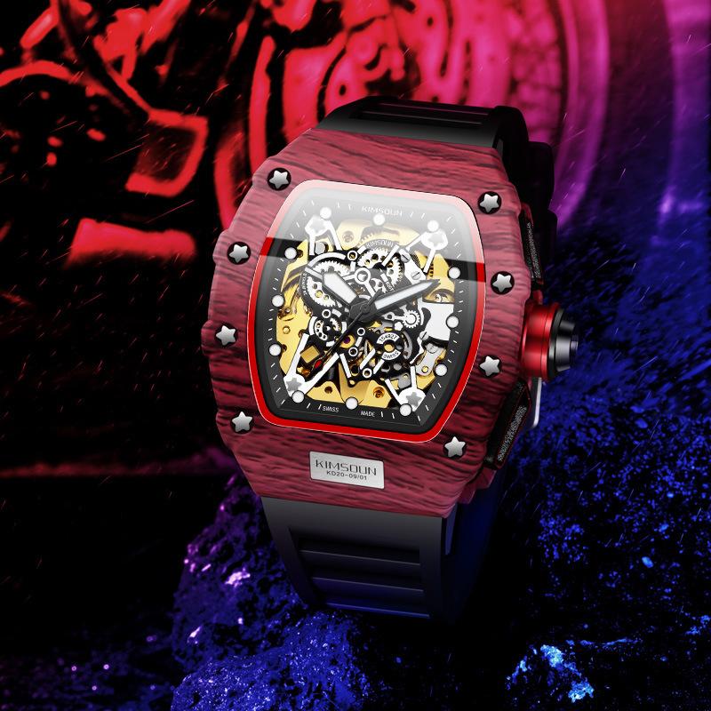 男性用腕時計リチャード酒樽型スポーツ腕時計ミラーがクールで、全自動機械式時計が透かしてある防水腕時計です。