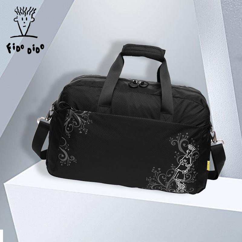 FIDODIDO菲都狄都行李包女手提袋斜挎包旅行轻便大容量帆布单肩包