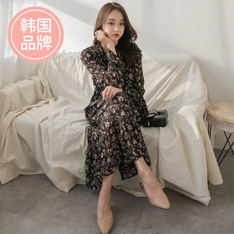 South Korea 2020 spring and autumn new Chiffon Dress mid long foreign style Korean version waist closing show thin floral skirt op066