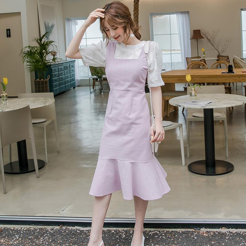 South Korea official website to buy Womens dress summer fit show thin temperament students Ruffle vest skirt OP118