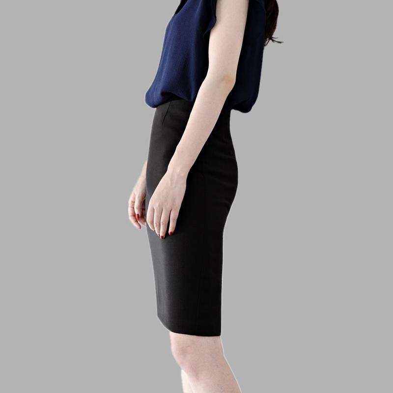 包臀半身裙中长款女春秋及膝弹力工作高腰西装裙开叉职业一步裙夏