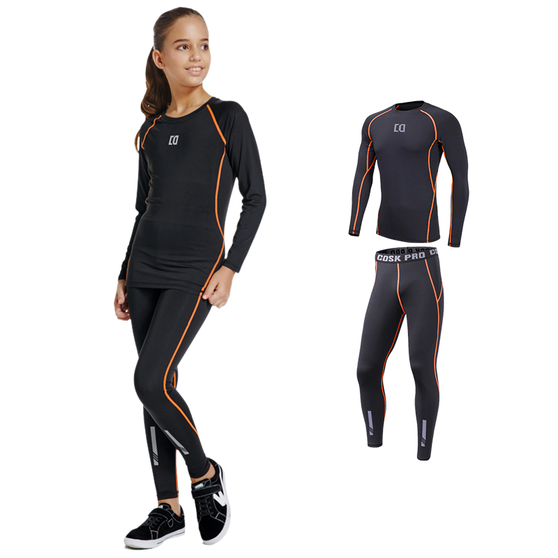 Childrens tights training suit girls basketball Dance Yoga suit running quick dry base long sleeve sportswear suit
