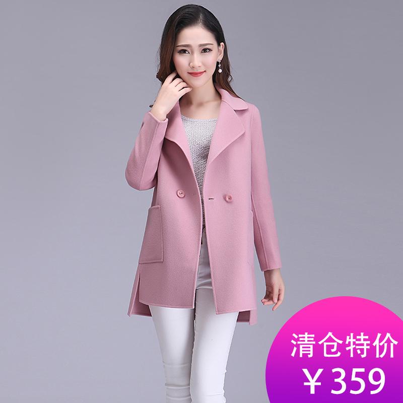 2017秋冬新款双面羊绒大衣女中长款高档毛呢大衣保暖羊毛呢子外套