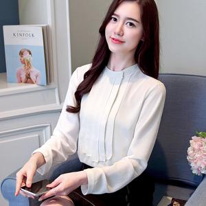 秋季新款雪纺衫职业衬衫工装上衣OL流苏衬衫女纯色打底垂感透气好