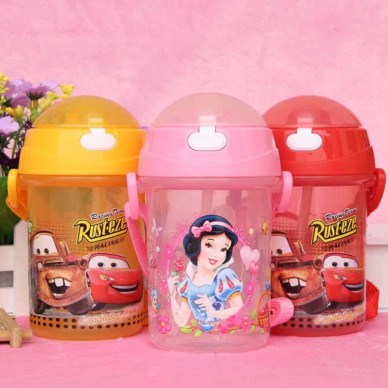 迪士尼塑料杯兒童卡通吸管水杯學生 水壺便攜密封背帶水杯防漏