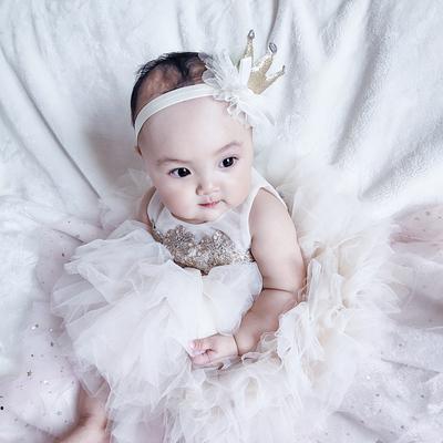 夏季新款童装女宝宝满月百天周岁礼服女童连衣裙网纱公主裙蓬蓬裙