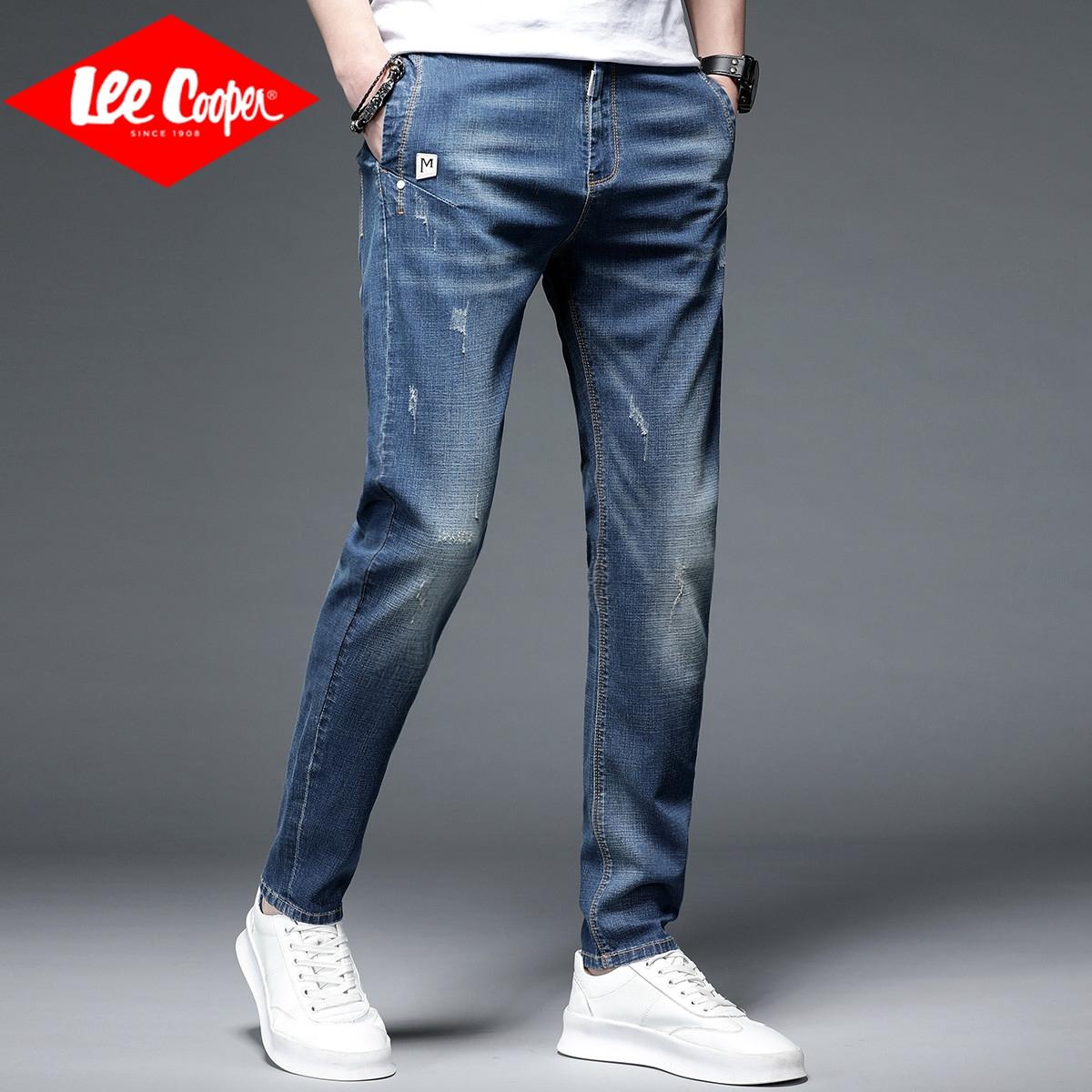 Lee Cooper2020年秋季韩版潮流直筒宽松百搭九分薄款休闲牛仔裤男